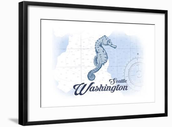 Seattle, Washington - Seahorse - Blue - Coastal Icon-Lantern Press-Framed Art Print