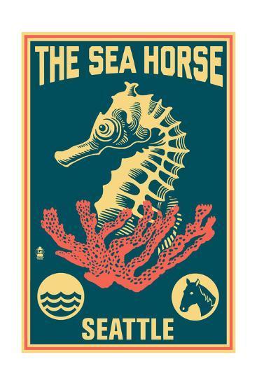 Seattle, Washington - Seahorse Woodblock (Blue and Pink)-Lantern Press-Art Print