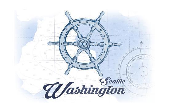 Seattle, Washington - Ship Wheel - Blue - Coastal Icon-Lantern Press-Art Print