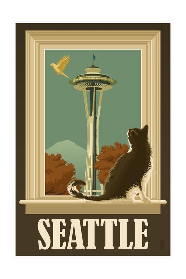 Seattle, Washington - Space Needle and Cat Window-Lantern Press-Art Print