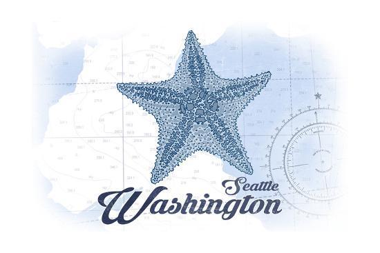 Seattle, Washington - Starfish - Blue - Coastal Icon-Lantern Press-Art Print