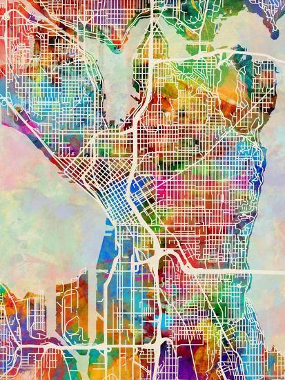 Seattle Washington Street Map Art Print By Michael Tompsett Art Com