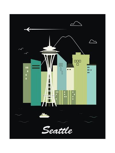 Seattle Washington.Vector-Ladoga-Art Print