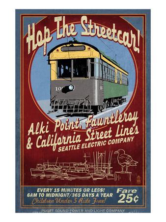 Seattle, Washington - West Seattle Streetcar-Lantern Press-Art Print
