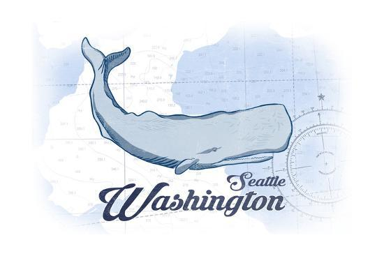 Seattle, Washington - Whale - Blue - Coastal Icon-Lantern Press-Art Print