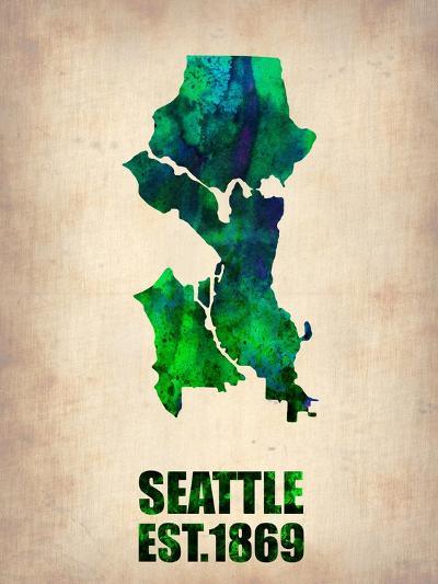 Seattle Watercolor Map-NaxArt-Art Print