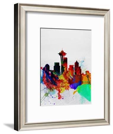 Seattle Watercolor Skyline 2-NaxArt-Framed Art Print