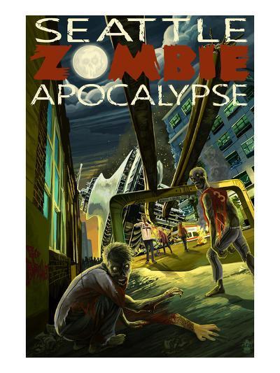 Seattle Zombie Apocalypse-Lantern Press-Art Print