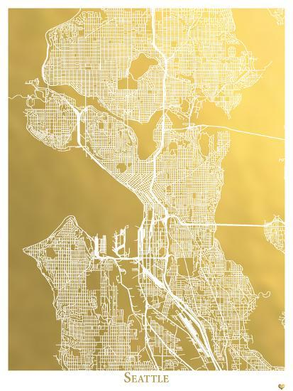 Seattle Art Print By The Gold Foil Map Company Art Com