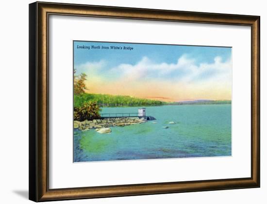 Sebago, Maine - Northern View from White's Bridge, c.1949-Lantern Press-Framed Art Print