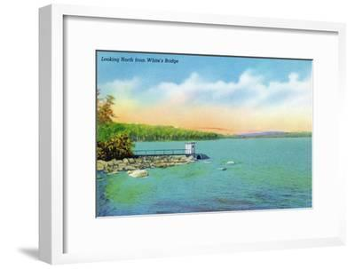 Sebago, Maine - Northern View from White's Bridge, c.1949-Lantern Press-Framed Art Print