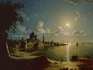 Moonlight Scene, Southampton, 1820 by Sebastian Pether