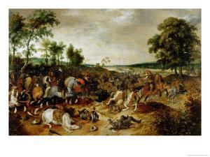 The Battle Between Officers Breaute and Gerard Abrahamsz Called Lekkerbeetje at Vught by Sebastian Vrancx