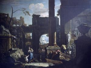 Classical Ruins and Figures by Sebastiano Ricci