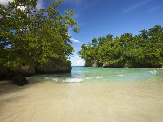 Secluded Beach at Frenchman's Cove in Jamaica-Michael Melford-Photographic Print