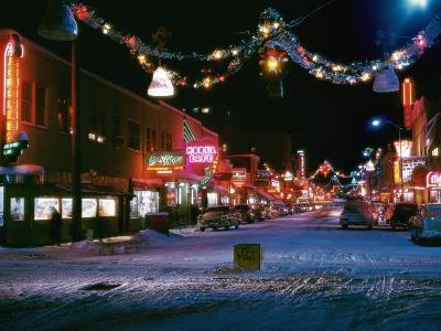Second Avenue, the Main Business Street in Fairbanks, Decorated for Christmas-W^ Robert Moore-Photographic Print