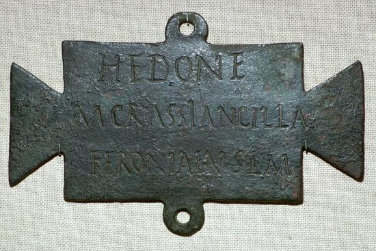 Second century Roman bronze plaque with a dedication to Feronia. Artist: Unknown-Unknown-Giclee Print