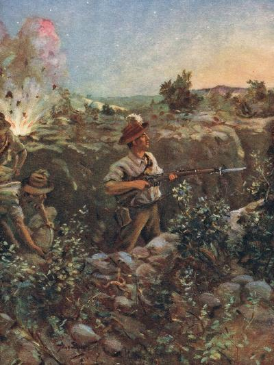 Second-Lieutenant Throssell Holding Part of a Captured Turkish Trench Against the Enemy--Giclee Print