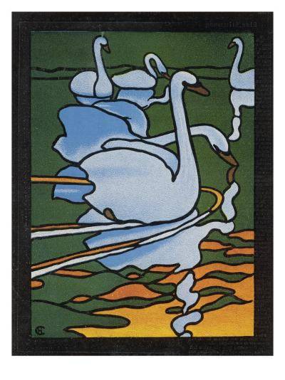 Second of Two Designs for Stained Glass Depicting Swans in the Water. (Cygnus Olor)--Giclee Print