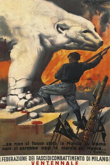 Second World War Propaganda Poster - Federation of Italian Leagues of Combat, 1942-Alberto Amorico-Giclee Print