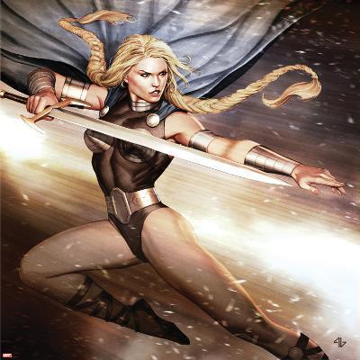 Secret Avengers No.14 Cover: Valkyrie Jumping with a Sword-Adi Granov-Art Print