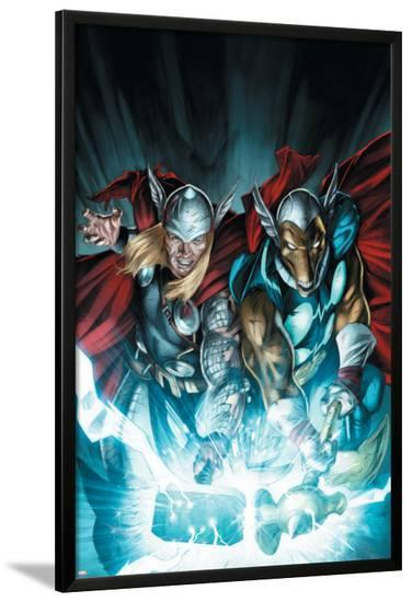 Secret Invasion: Thor No.3 Cover: Thor and Beta-Ray Bill-Doug Braithwaite-Lamina Framed Poster