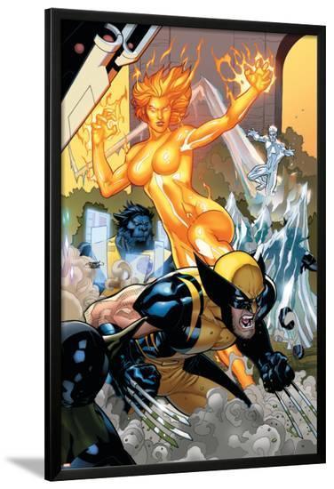 Secret Invasion: X-Men No.4 Cover: Wolverine and Phoenix-Terry Dodson-Lamina Framed Poster