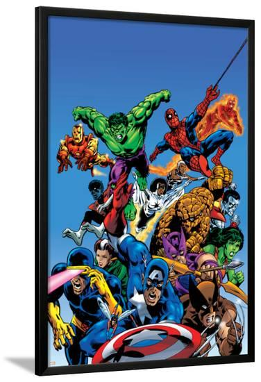Secret Wars Cover: Captain America-Mike Zeck-Lamina Framed Poster