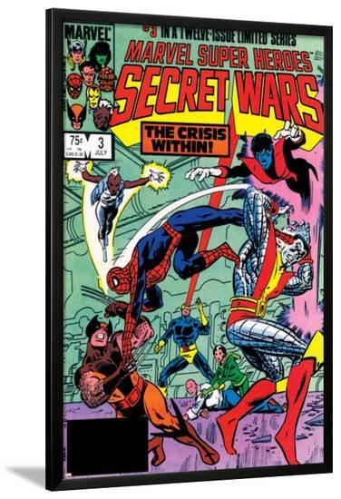 Secret Wars No.3 Cover: Colossus, Nightcrawler, Spider-Man, Wolverine, Storm, Cyclops and X-Men-Mike Zeck-Lamina Framed Poster