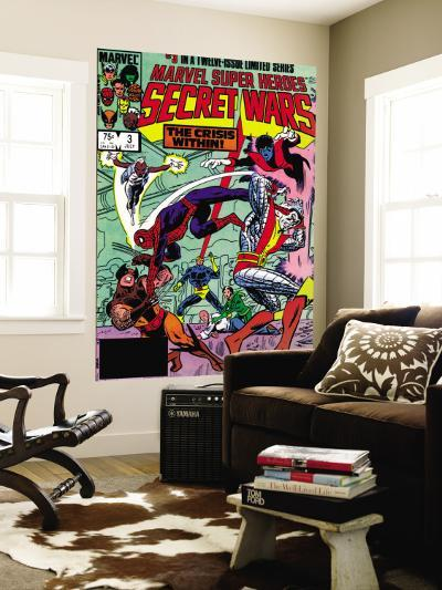Secret Wars No.3 Cover: Colossus, Nightcrawler, Spider-Man, Wolverine, Storm, Cyclops and X-Men-Mike Zeck-Wall Mural