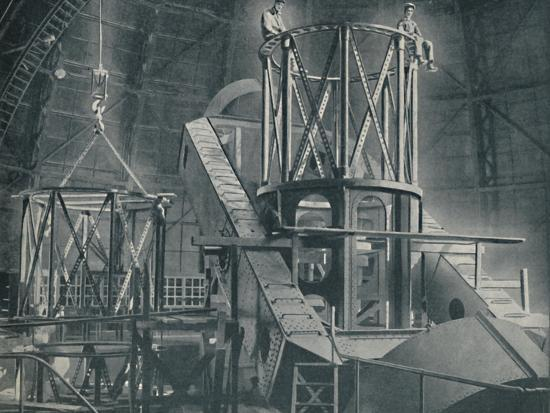 'Section By Section Mounts The Huge Steel Framework of the Hooker's Cylinder', c1935-Unknown-Photographic Print