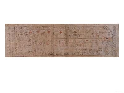 Section of Papyrus Inscribed with Cursive Hieroglyphs--Giclee Print