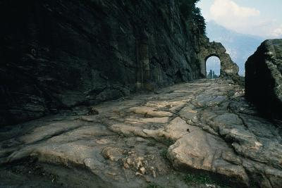 Section of Roman Road and Arch Carved into the Rock, Donnas, Valle D' Aosta, Italy--Giclee Print