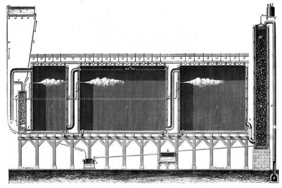 Sectional View of Lead Chambers for Large-Scale Production of Sulphuric Acid, 1870--Giclee Print