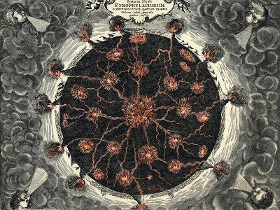 Sectional View of the Earth, Showing Central Fire and Volcanoes, 1665--Giclee Print