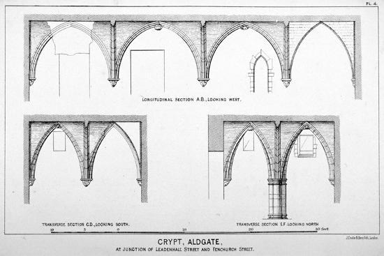Sectional Views of St Michael's Crypt, Aldgate Street, London, C1830-J Emslie & Sons-Giclee Print