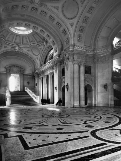 Security Guard Stands Watch in the Lobby of the Naval Academy-Clifton R^ Adams-Photographic Print