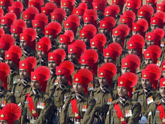Security Personnel March at the Republic Day Parade in New Delhi, India, Friday, January 26, 2007-Mustafa Quraishi-Photographic Print