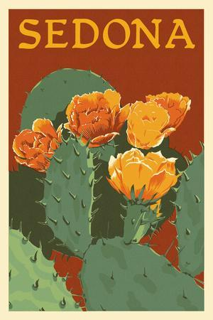 Sedona, Arizona - Prickly Pear Cactus - Letterpress-Lantern Press-Art Print
