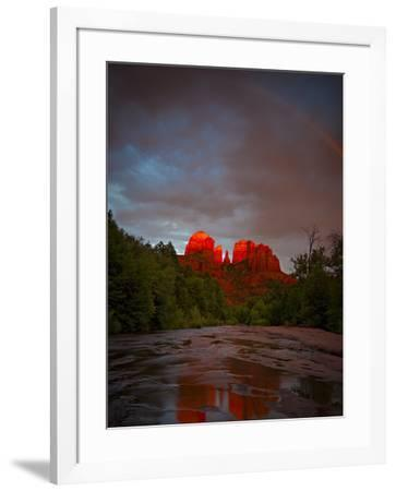 Sedona's iconic Cathedral Rock with afternoon light and rainbow reflected in Oak Creek.-Derek Von Briesen-Framed Photographic Print