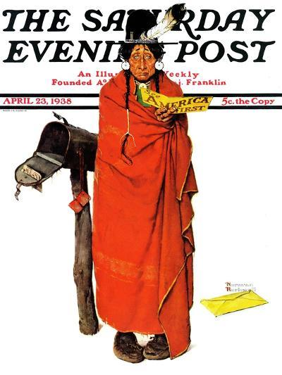"""""""See America First"""" Saturday Evening Post Cover, April 23,1938-Norman Rockwell-Giclee Print"""