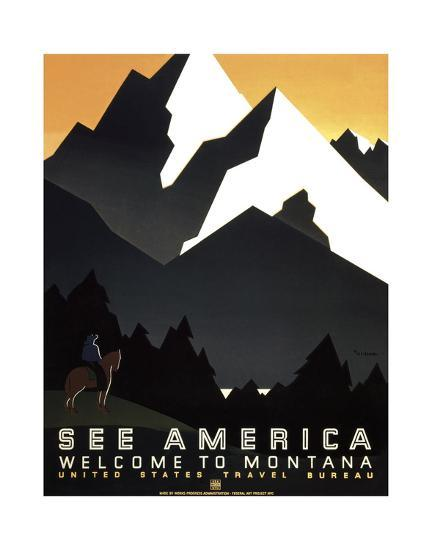 See America - Welcome to Montana II-Vintage Reproduction-Art Print