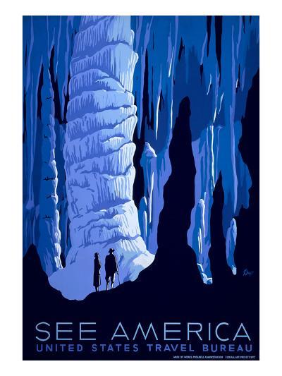 See American Travel Poster, Caverns--Art Print