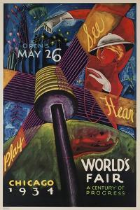 See, Hear, Play, Chicago 1934 World's Fair Poster