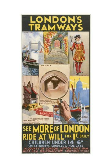 See More of London, London County Council (LC) Tramways Poster, 1933-GE Butler-Giclee Print