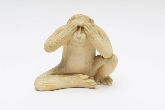 See No Evil, One of the Three Wise Monkeys-Japanese School-Giclee Print