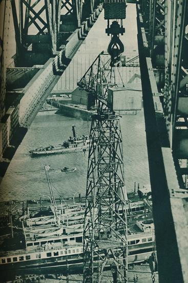 'Seen from a crane, the River Clyde has appearance of a long narrow dock basin', 1937-Unknown-Photographic Print