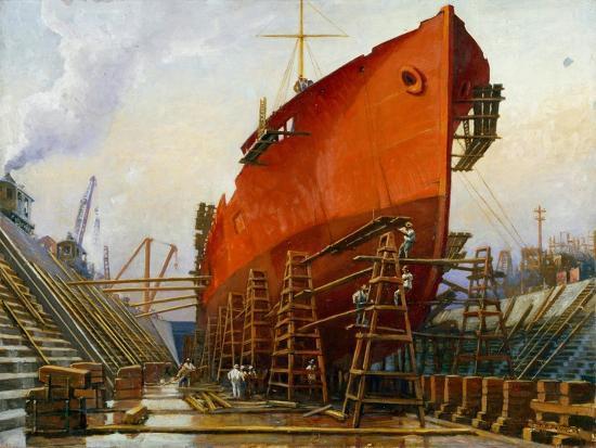 Segovia at Newport News Ship Building and Dry Dock No. 2-Thomas C. Skinner-Giclee Print