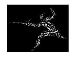 Fencing Pictogram With Related Wordings On Black Background by seiksoon