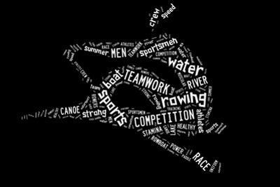 Rowing Boat Pictogram On Black Background